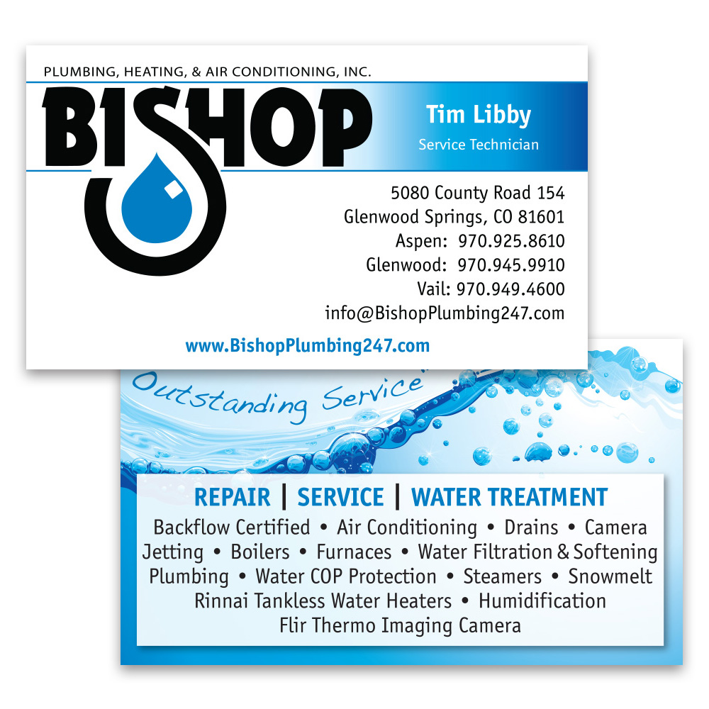 Bishop Plumbing Business Cards